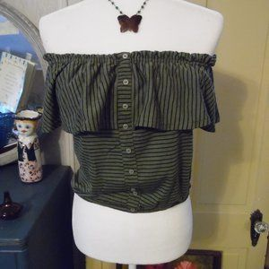 NWT Striped Off-Shoulder Button-Front Boho Top, M